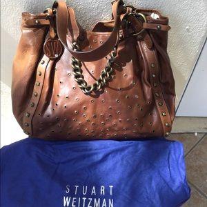 STUART WEITZMAN leather gromet oversize bag